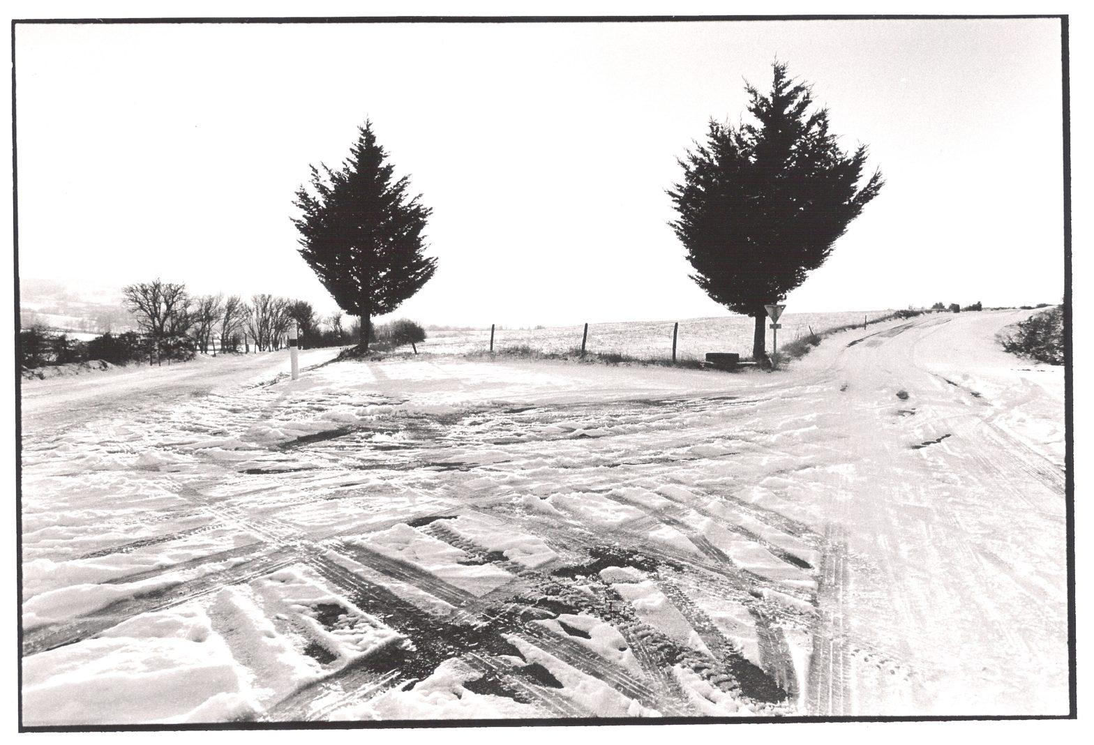 Haut de la côte de Goutrens, hiver 2011, aveyron, prise de vue argentique, JP Devals